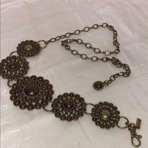 Chico's Accessories - Vintage! Chicos brass and brown flower chain belt